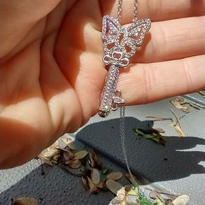 Women's crystal key necklace 18 inches silver tone